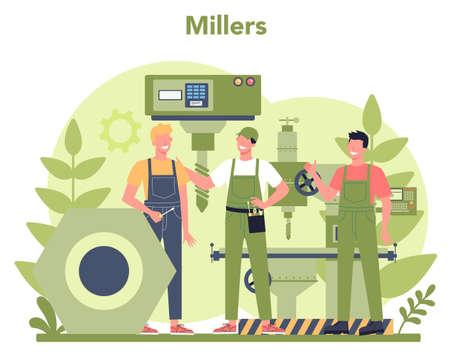 Miller and milling concept illustration. Engineer drilling metal Vektorové ilustrace