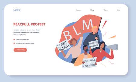 Black lives matter web banner or landing page. Protester call