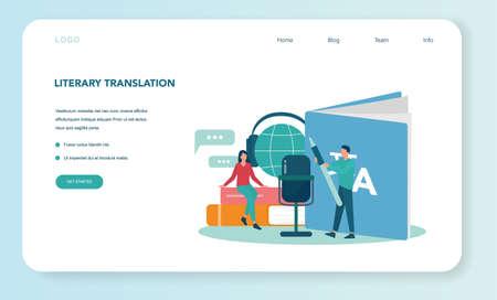 Translator and translation service web banner or landing page .