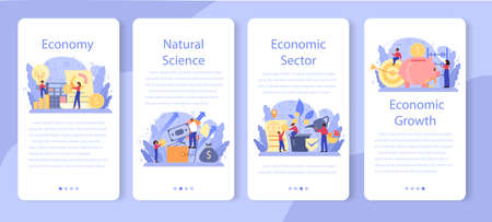 Economy school subject mobile application banner set. Student