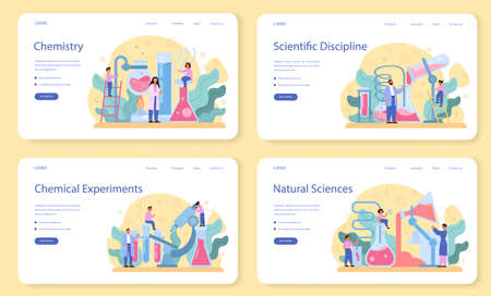 Chemistry studying web banner or landing page set. Chemistry lesson Ilustração Vetorial