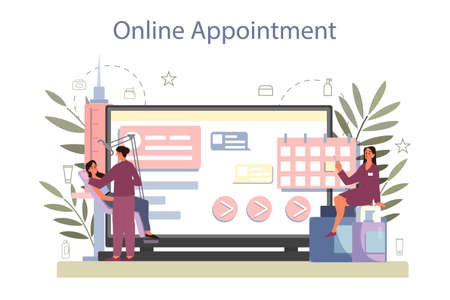 Cosmetologist online service or platform, skin care and treatment.