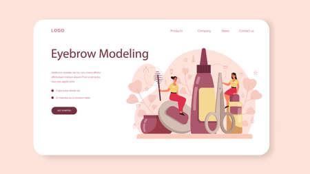 Eyebrow master and designer web banner or landing page. Master