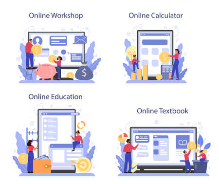 Economy school subject online service or platform set. Student 向量圖像