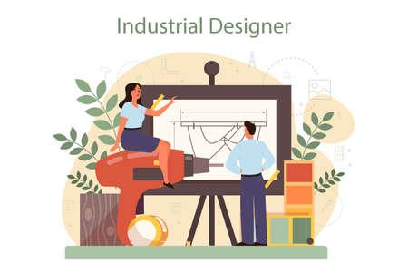 Industrial designer concept. Artist creating modern environment Vecteurs