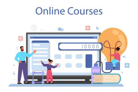 Physics school subject online service or platform set. Scientist explore