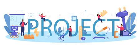 Modeling project school subject typographic header. Engineering,