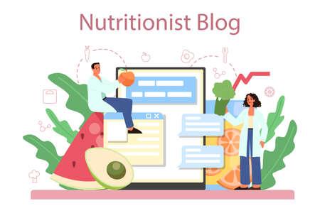 Nutritionist online service or platform. Diet plan with healthy food Vecteurs