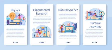 Physics school subject mobile application banner set. Scientist explore