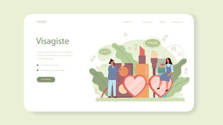 Visagiste web banner or landing page. Beauty center service