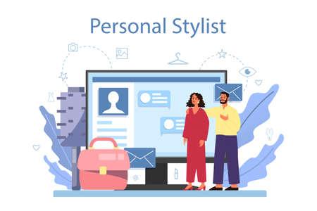 Fashion stylist online service or platform. Modern, creative job. Vettoriali