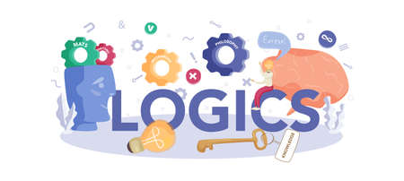 Logics typographic header concept. Scientist systematicly study
