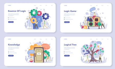 Logician web banner or landing page set. Scientist systematicly study