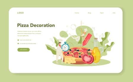 Pizzeria web banner or landing page. Chef cooking tasty delicious