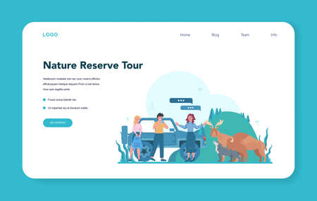 Tour vacation guide web banner or landing page. Tourists listening