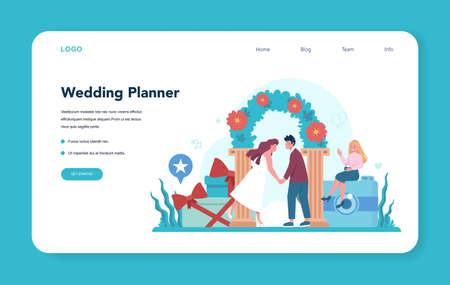 Wedding planner web banner or landing page. Professional Illustration