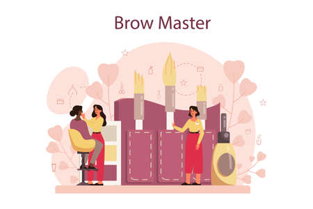 Eyebrow master and designer concept. Master making perfect brow.