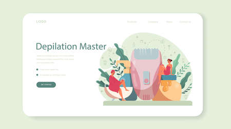 Depilation and epilation web banner or landing page. Hair removal