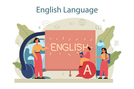 English class concept. Study foreign languages in school or university.