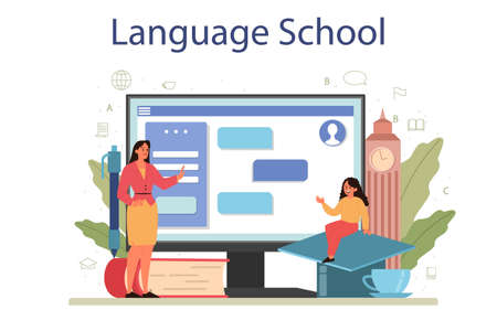 English class online service or platform. Study foreign languages
