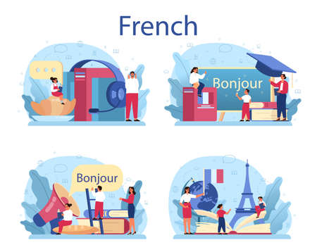 French learning concept set. Language school french course. Study