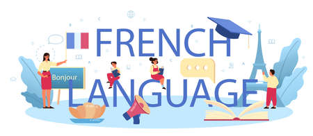 French language typographic header. Language school french course Vecteurs
