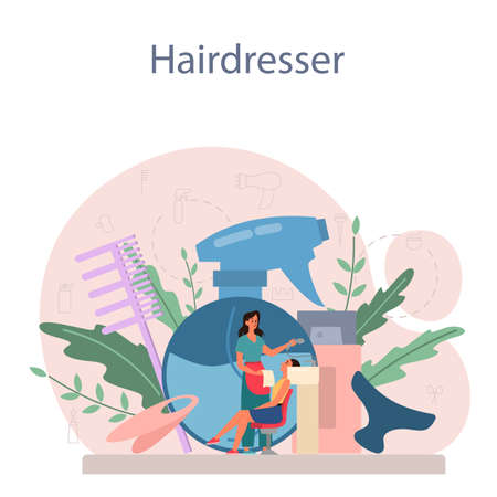 Hairdresser concept. Idea of hair care in salon. Scissors and brush