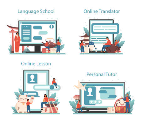 Japanese learning online service or platform set. Language school