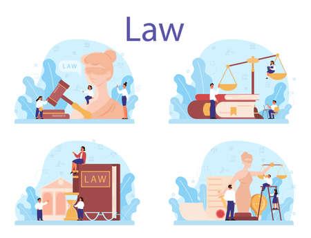 Law class concept set. Punishment and judgement education. Guilt