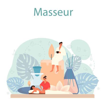 Massage and masseur concept. Spa procedure in beauty salon. Vettoriali