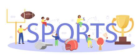 Sport typographic header concept. Students doing excercise Vektorové ilustrace