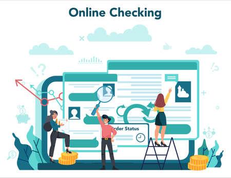 Audit online service or platform. Business operation online checking. 일러스트
