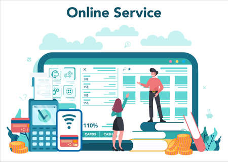 Cashier online service or platform. Client service, payment operation. 일러스트