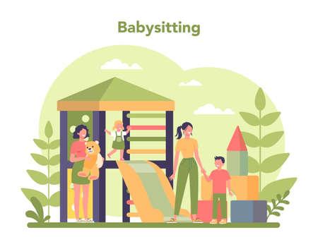 Babysitter service or nanny agency concept. In-home babysitter.