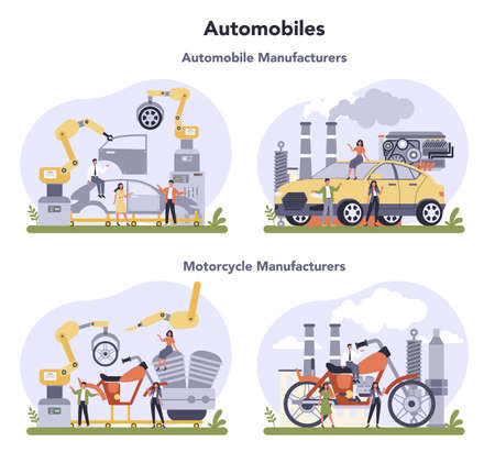 Car and motorcycle production industry set. Vehicle part on the