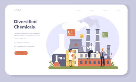 Chemical industry web banner or landing page. Industrial chemistry