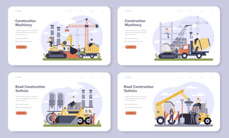 Construction and engineering industry web banner or landing page