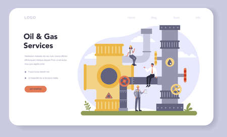 Oil and gas industry web banner or landing page. Fuel factory,