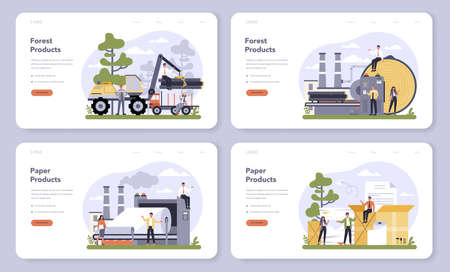 Paper production and wood industry web banner or landing page set.