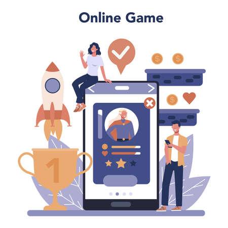 Game development online service or platform set. Creative process