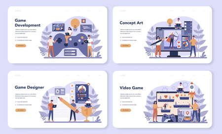 Game development web banner or landing page set. Creative process Illusztráció