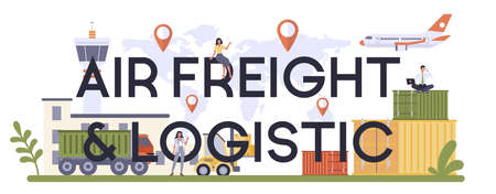 Air freight and logistic industry typographic header. Cargo