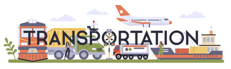 Transportation sector of the economy typographic header. Airlines,