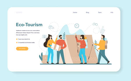Travel agent web banner or landing page. Office worker selling tour, Illustration