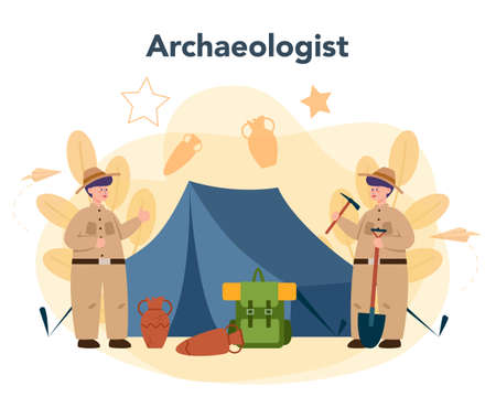 Archaeologist concept. Ancient history scientist, paleontologist. Knowledge