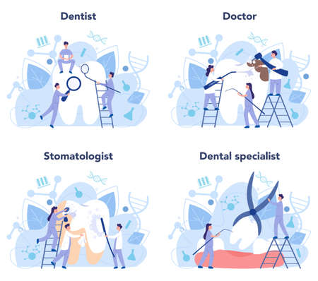 Dentist profession set. Dentists in uniform treat tooth using medical