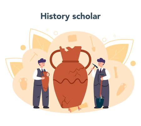 Historian science concept. History, paleontology, archeology. Knowledge