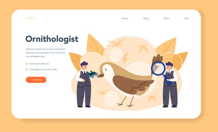 Ornithologist web banner or landing page. Professional scientist