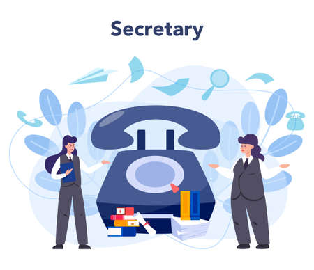 Secretary concept. Receptionist answering calls and assisting Vectores