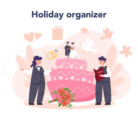 Wedding planner concept. Professional organizer planning wedding Illustration